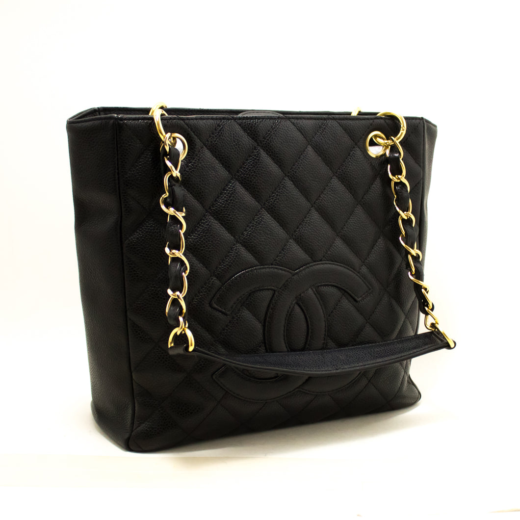 CHANEL Caviar PST Chain Shoulder Bag Shopping Tote Black Quilted Q97-Chanel-hannari-shop