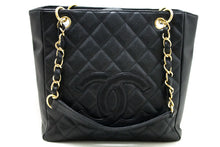 CHANEL Caviar PST Сумка на плячо Сумка для пакупак Tote Black Quilted Q97-Chanel-hannari-shop