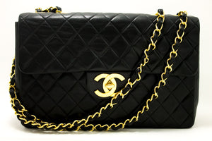 "CHANEL Jumbo 13"" Maxi 2.55 Flap Chain Shoulder Bag Black Lambskin g64"