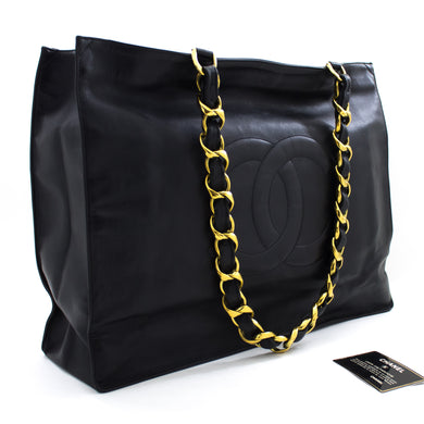 CHANEL Jumbo Large Big Chain Shoulder Bag Black Lambskin Leather u04-hannari-shop