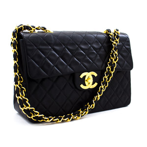 "CHANEL Jumbo 13 ""Maxi 2.55 Flap Chain Caner Bag ጥቁር ላምስኪን x30 ሺንሪ-ሱቅ"