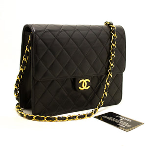 CHANEL Small Chain Shoulder Bag Clutch Black Quilted Flap Lambskin Q58