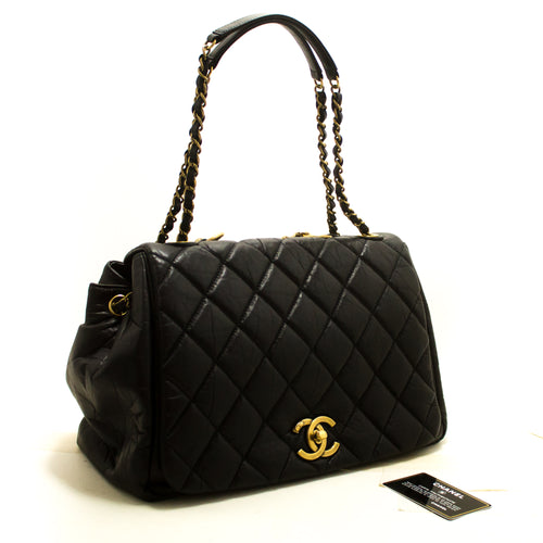 CHANEL Paris Bombay 2way Chain Shoulder Bag Handbag Black Quilted R89