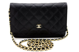 CHANEL Caviar Wallet On Chain WOC Black Shoulder Bag Crossbody x36 hannari-shop
