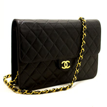 CHANEL Chain Shoulder Bag Clutch Black Quilted Flap Lambskin n94