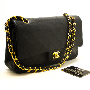 "CHANEL 2.55 Double Flap 10"" Chain Shoulder Bag Black Quilted Lamb s11-Shoulder Bag-hannari-shop"