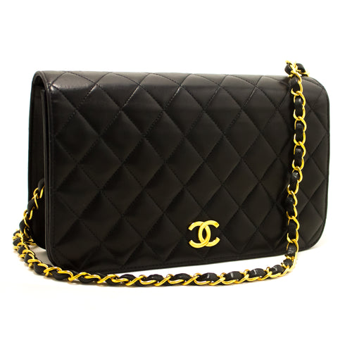CHANEL Chain Shoulder Bag Clutch Black Quilted Flap Lambskin Purse p78