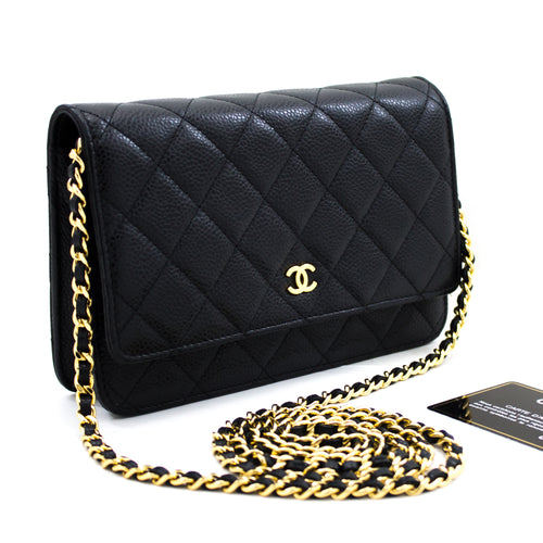 CHANEL Caviar Wallet On Chain WOC Black Shoulder Bag Crossbody x38 hannari-shop
