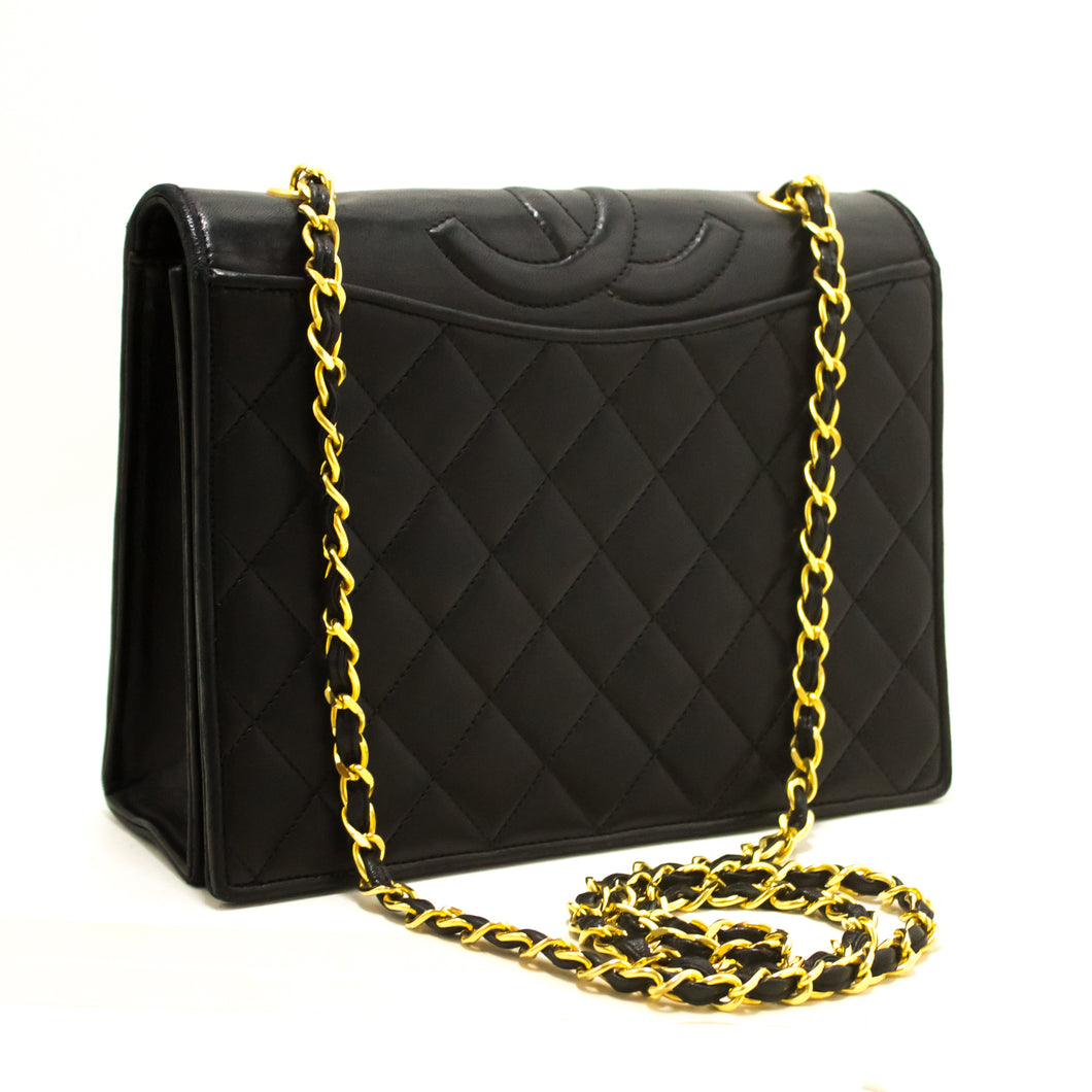 CHANEL Classic Chain Shoulder Bag Black Quilted Full Flap Lambskin s18-Chanel-hannari-shop