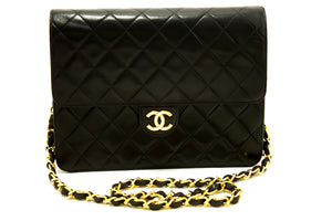 CHANEL Small Chain Shoulder Bag Clutch Black Quilted Flap Lambskin Q65-Chanel-hannari-shop