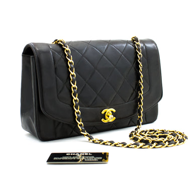 CHANEL Diana Flap Chain Shoulder Bag Black Quilted Lambskin Purse b05 hannari-shop