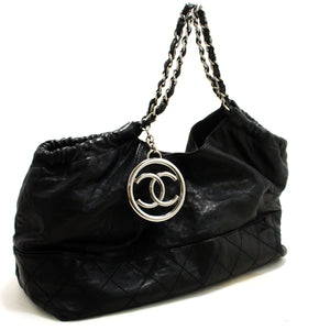 CHANEL Coco Cabas Soft Caviar Chain Shoulder Bag Black Quilted SV p70