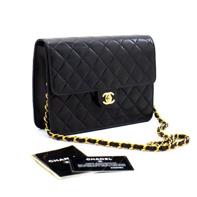 CHANEL Small Chain Shoulder Bag Clutch Black Quilted Flap Lambskin b03 hannari-shop
