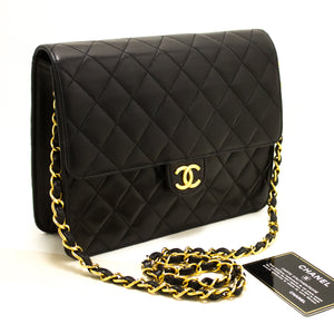 CHANEL Small Chain Shoulder Bag Clutch Black Quilted Flap Lambskin Q61-nel-hannari-shop