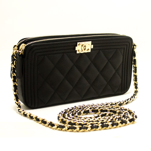 CHANEL Boy ጥቁር Caviar Wallet On Chain WOC Double Zip bag s26-Chanel-Kinari-shop