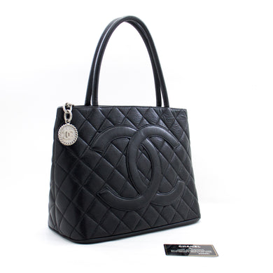 CHANEL Silver Medallion Caviar Shoulder Bag Shopping Tote Black a44 hannari-shop