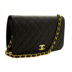 CHANEL Chain Shoulder Bag Clutch Black Quilted Flap Lambskin Purse p85