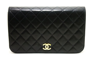CHANEL Chain Shoulder Bag Clutch Black Quilted Flap Lambskin Purse p85-Chanel-hannari-shop