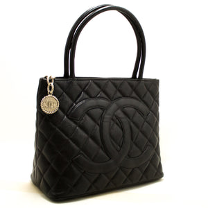 CHANEL Caviar Silver Medallion Shoulder Bag Black Leather Tote SV Q59-hanel-hannari-shop