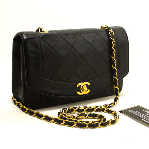 CHANEL Diana Flap Chain Shoulder Bag Crossbody Black Quilted Lamb s28-Shoulder Bag-hannari-shop