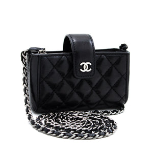 CHANEL Mini Small Chain Shoulder Bag Black Crossbody Quilted x84 hannari-shop