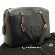 CHANEL Caviar Jumbo Large Chain Shoulder Bag Black Zip Leather CC j17