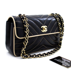 CHANEL Chain Shoulder Bag Black Beige Quilted Single Flap Lambskin x85 hannari-shop