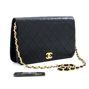 CHANEL Full Flap Chain Shoulder Bag Clutch Black Quilted Lambskin b28 hannari-shop