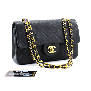 "CHANEL 2.55 Double Flap 9 ""Chain Shoulder Bag Black Lambskin Purse b07 hannari-shop"
