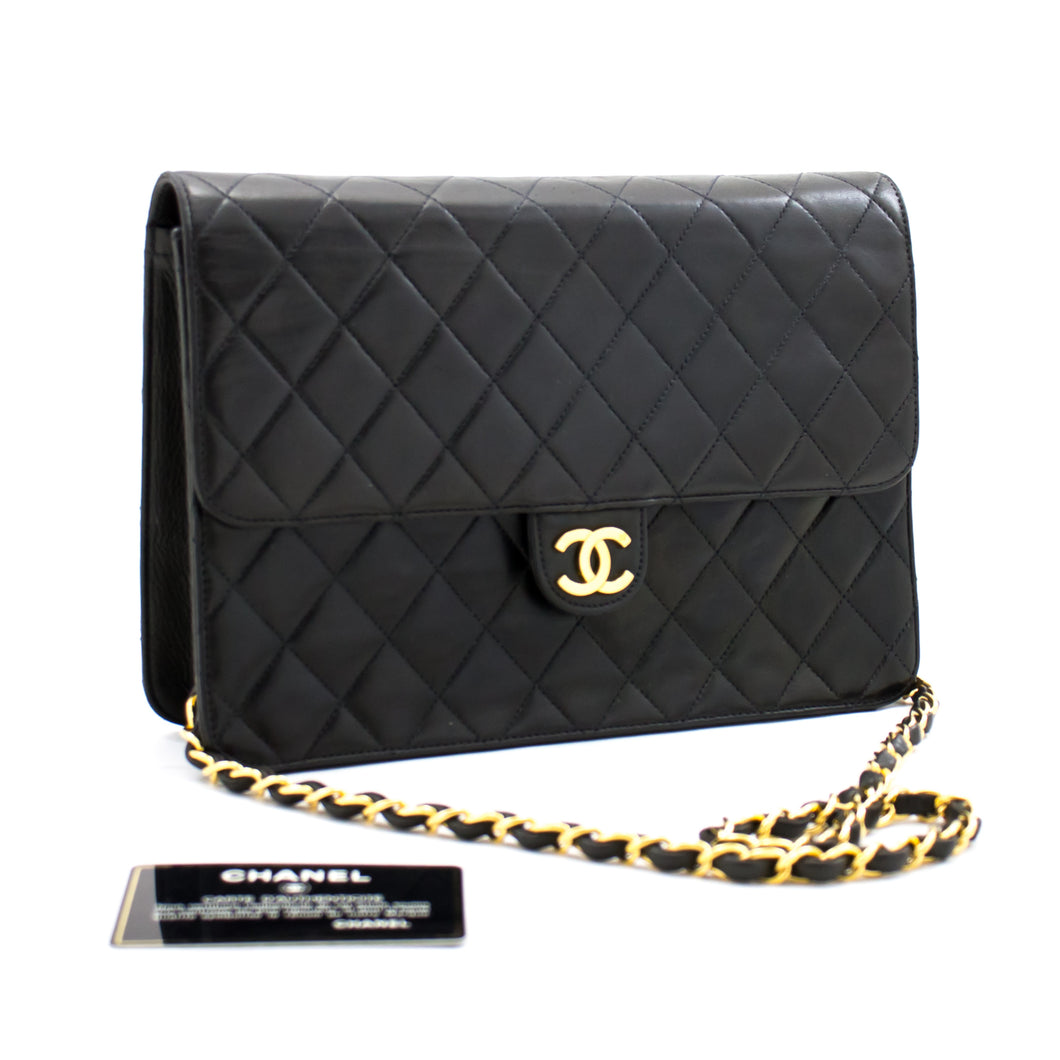 CHANEL Chain Shoulder Bag Clutch Black Quilted Flap Lambskin b33 hannari-shop