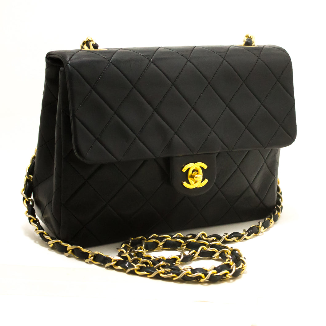 CHANEL Mini Square Small Chain Shoulder Bag Crossbody Black Purse s09-Chanel-hannari-shop