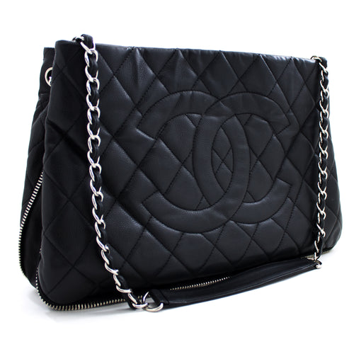 CHANEL Caviar Zip Around Chain Shoulder Bag Black Leather Silver u65 hannari-shop