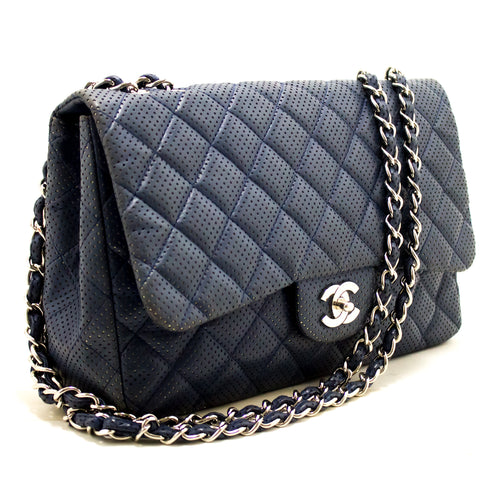 CHANEL Navy Punching Leather Chain Shoulder Bag Quilted Flap SV j28