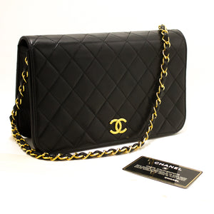 CHANEL Chain Shoulder Bag Clutch Black Quilted Flap Lambskin s08-Chanel-hannari-shop