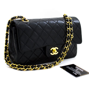 "CHANEL 2.55 Double Flap 9"" Chain Shoulder Bag Black Lambskin Purse x52 hannari-shop"