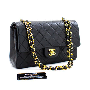 "CHANEL 2.55 Double Flap 10 ""Chain Shoulder Bag Black Lambskin b08 hannari-shop"