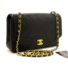CHANEL Diana Flap Chain Shoulder Bag Crossbody Black Quilted Lam s07-Chanel-hannari-shop
