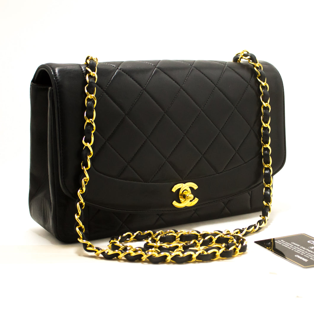 CHANEL Diana Flap Chain Shoulder Bag Crossbody Black Quilted Lamb s07-Chanel-hannari-shop
