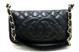CHANEL Caviar Mini Small Chain One Shoulder Bag Black Quilted p89-Chanel-hannari-shop