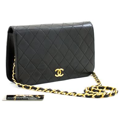 CHANEL Full Flap Chain Shoulder Bag Clutch Black Quilted Lambskin b30 hannari-shop