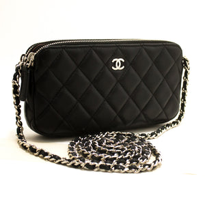 CHANEL Lambskin Wallet on Chain WOC Double Zip Chain Caner Bag R97