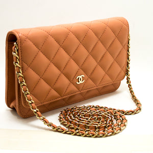 CHANEL Salmon Pink Wallet On Chain WOC Shoulder Bag Crossbody Gold p90-anel-hannari-shop