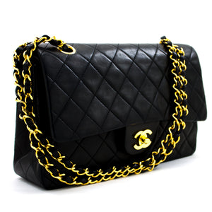 "CHANEL 2.55 Double Flap 10"" Chain Shoulder Bag Black Lambskin x53 hannari-shop"