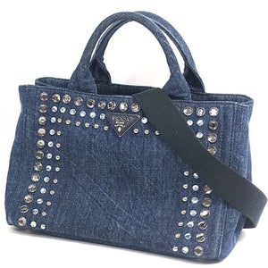 PRADA Canapa 2WAY stats Womens tote bag B2439O blue 69737235 hannari-shop