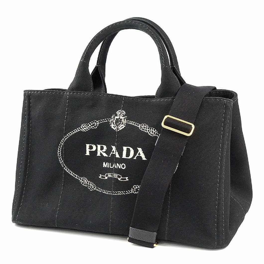 PRADA Canapa 2WAY Womens tote bag 1BG642 black 69697224 hannari-shop