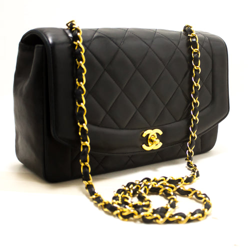 CHANEL Diana Flap Chain Shoulder Bag Crossbody Black Quilted Lamb R86