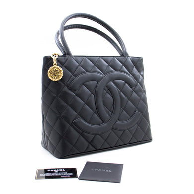 CHANEL Gold Medallion Caviar Shoulder Bag Shopping Tote Black a77 hannari-shop