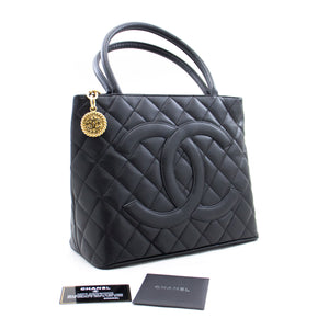 CHANEL Gold Medallion Caviar Shoulder Bag Shopping Tote Μαύρο a77 hannari-shop