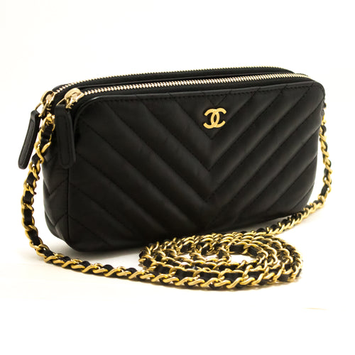 1129c8e7fefb CHANEL Lambskin V-Stitch Wallet On Chain WOC Double Zip Chain Bag R96