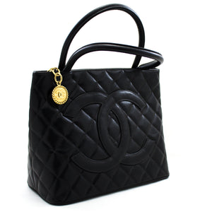 CHANEL Gold Medallion Caviar Torba na ramenih Tote Black t89 hannari-shop